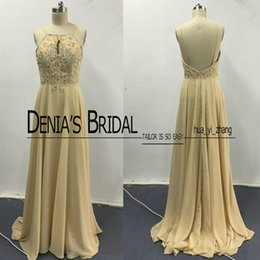 Wholesale Low Back Chiffon Prom Dress - 2017 Champagne Prom Dresses Real Images Spaghetti Straps Beaded Keyhole Neck Low Back Sweep Train Chiffon Evening Gowns