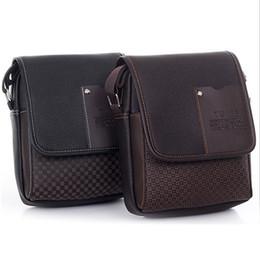 Wholesale Faux Leather Trunks - Wholesale- 2015 Portable Men's Faux Leather Grid Cover Briefcase Crossbody Messenger Shoulder Bag Hot 2015 6O1C
