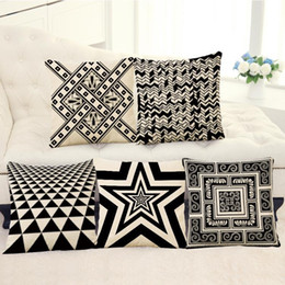 Wholesale fabric light covers - 45cm 90g Nordic Black Geometry Cotton Linen Fabric Throw Pillowcase 18inch Fashion Hotal Office Bedroom Decorate Sofa Chair Cushion cover