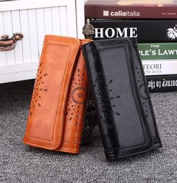 Wholesale Retro Cell Phone Holder - outlet brand package retro high-quality hollow womens wallets Europe and America fashion hollow leather seventy percent off women wallet