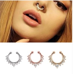 Wholesale Diamond Nail Stud - Gold selling European and American crystal false nose ring c-type diamond false nose nail piercing nose