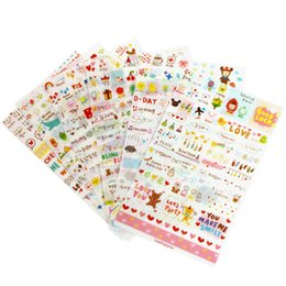 Wholesale Calendar Notebook - 6 Sheet set Stickers Cute Korea Pvc Transparent Flake Seal Cards For Scrapbooking Diy Diary Calendar Notebook Label Stationery