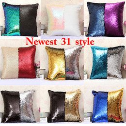 Wholesale Home Decor Pillow Covers - 2017 Two-color Sequins Pillow Case Mermaid Pillow Covers Home Sofa Car Decor Cushion 31 Style Free Shipping 40*40cm WX-P02