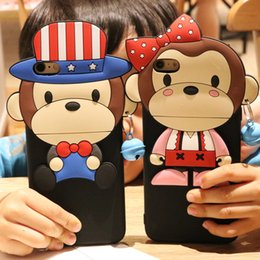 Wholesale Iphone Soft Monkey Case - For iPhone 7 Cute Cartoon 3D Monkey boy girl Lover Cases silicone slim Soft Silicone Back Cover Shell for iPhone 7 6S plus free shipping