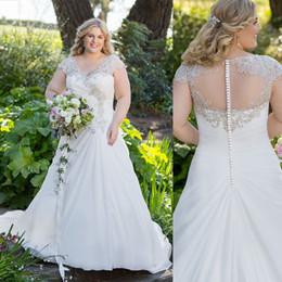 Wholesale Dresses Chiffon Plus - 2017 Plus Size Wedding Dresses A Line Deep V Neck Short Sleeves Lace Beaded Chiffon Bridal Gowns Sweep Train Bridal Dresses