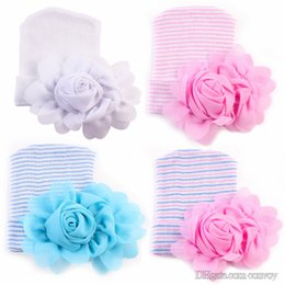 Wholesale Knit Beanie Flower - 2017 Newest Newborn Baby Crochet Hats with Big Flowers Beanie Cute Baby Girl Chiffon Flower Knitting Stripe Hedging Caps Cotton 0-6M BH62