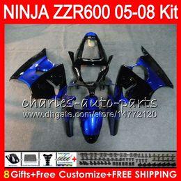 2018 Kawasaki Zzr Schwarz Blau 8Geschenke 23Farben Korper Fur KAWASAKI NINJA ZZR 600 05 06 07