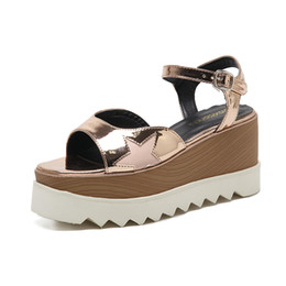 Wholesale Tpr Sole Sandals - hot fashionThick soles and sandals Sexy wedge heels Star sandals Women's fashion shoes black white Platform shoes