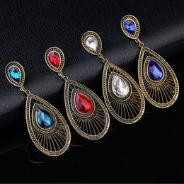 Wholesale Different Color Rhinestones - Bohemian Earrings Different Color Hot Sale Drop Dangle Earring For Women Girl Party Gift Fashion Jewelry Wholesale Free Shipping 0443WH