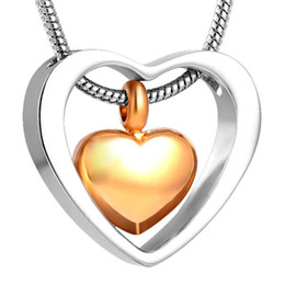 Wholesale Double Heart Gold Necklace - IJD8078 Double Heart 316L Stainless Steel Pendant Necklace High Polish Cremation Jewelry Ashes Keepsake Urn Stash Funeral Necklace