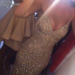 Wholesale Spaghetti Strap Sparkle Party Dress - Luxury Long Mermaid Burgundy Prom Dresses 2017 Sexy V Neck Sparkling Formal Evening Party Dress wear Yousef Aljasmi