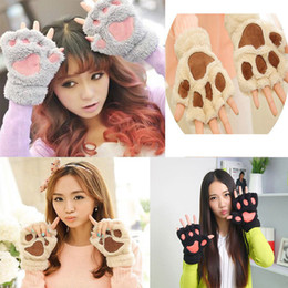 Wholesale Children Winter Gloves Red - Women Girl Children 14 Colors Winter Warm Fluffy Plush Mittens Cat Bear Paw Claw Glove for Party Cosplay