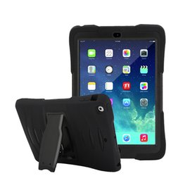 Wholesale Ipad Mini Back Rubber Cover - For iPad 5 6 Air Air2 Pro 9.7 Case Retina Kids Baby Safe Armor Shockproof Heavy Duty Silicone+PC Stand Back Case Cover For iPad mini 1 2 3 4
