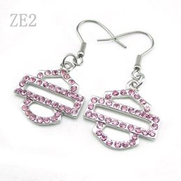 Wholesale Chandelier Pink - Free Shipping! Punk hot sale Motor Club Pink color Crystal Rhinestone Biker Earrings Jewelry