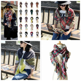 Wholesale Oversized Fashion Rings Wholesale - Plaid Scarves Grid Tassel Wrap Oversized Check Shawl Tartan Cashmere Scarf Winter Neckerchief Lattice Blankets Fashion AccessorieYYA89