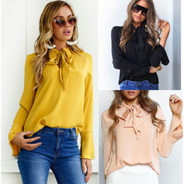 Wholesale Long Sleeve Belted Blouse - 2017 Modest Office Lady Flare Sleeve Bandage Belt Tie Blouse Bow Collar Long Sleeve Hollow Out Women Shirt Female Solid Chiffon T-Shirt Tees