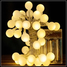 Discount small white led battery - Wholesale-Hot sale small Ball LED String Lights AA Battery Operated 4m 40led Flash Christmas Fairy String Light For Party Wedding Garland