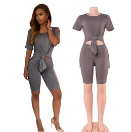 Wholesale Two Piece Dance Costumes - Summer New Arrival Women's Short Sleeve Tracksuits Hot Sale Dance Yoga Costume Two Piece Sets Fitness Sportswear Three Colors Size S M L