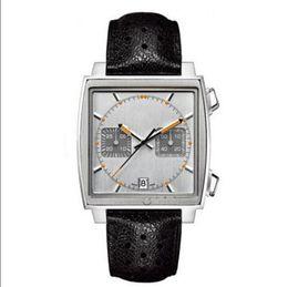 Wholesale Monaco Leather - AAA quality men luxury quartz movement Calibre 36 RS Caliper fashion watches Chronograph Men's monaco male watch wristwatches free shopping