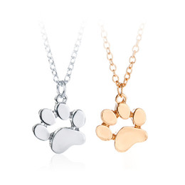 Wholesale Paw Foot - Simple Puppy Foot Print Animal Paw Print Pendant Dog Lover Pet Rescue Necklace 0904287-5