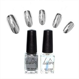 Wholesale Metal Art Effects - Wholesale- 2016 fashion 2pc lot 6ml Silver Mirror Effect Metal Nail Polish Varnish Top Coat Metallic Nails Art Tips nail polish set HM08