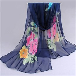 Wholesale Colorful Scarves Muffler - Women Fashion Colorful Print Scarf Floral Chiffon Silk Scarves Gorgeous Flowers Shawl Wrap Georgette Stole Muffler Sarong Beachwear 5 Colors