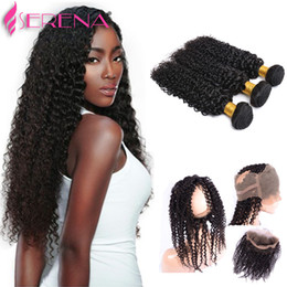 Wholesale Cheap Deep Curl Closure - Autie Funnie Curls Wet And Wavy Human Hair With Closure Cheap Hair Extensions Peruvian 360 Lace Frontal Bundles Deep Curly Human Hair Weave