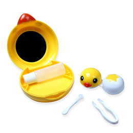 Wholesale Contact Lenses Case Mirror - Cute Yellow Duck Contact Lenses Case Portable Care Box Mirror Included