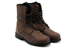 Wholesale Martin Style Combat Boots - Wholesale-Retro Combat Boots Winter England Style Fashionable Men's Short Black Brown