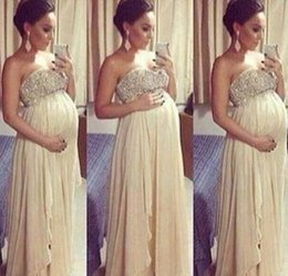Wholesale Yellow Strapless Top - Long Maternity Sexy Backless Prom Dresses 2017 For Pregnant Woman A Line Beaded Top Sweetheart Floor Length Chiffon Formal Evening Dress