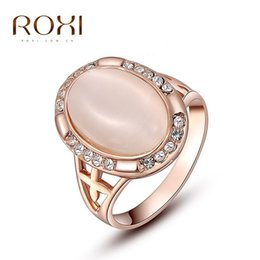 Wholesale Red Crystal Ring Opal - ROXI Ring For Wome Christmas Gift Classic Genuine Austrian Alloy Crystals Rose Gold Plating Pink Opal Engagement Ring Jewelry