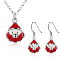 Wholesale jewelrys sets - Christmas jewelry set 13 style Earrings & Necklace set for women silver plated snowman Christmas-tree etc shaped jewelrys