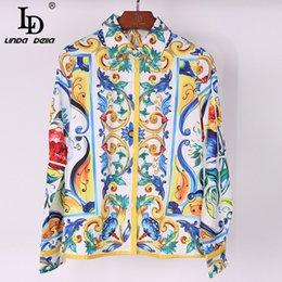 Wholesale Blouse Porcelain - omen's Clothing Blouses Shirts 2017 High Quality Blouses Women's Turn Down Collar Long Sleeve Fashion Tops Multicolor Porcelain Flora...