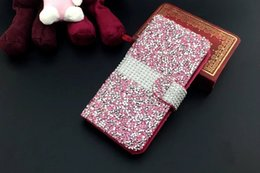 Wholesale Diamond Wallet Iphone Case - 1PCS For iPhone 7 Wallet Diamond Case iPhone 6s Case Bling Case Crystal PU Leather Card Slot For Galaxy S6 S6edge S7 S7edge
