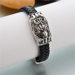 Wholesale Dragon Leather Braided Bracelet - New Styles Black Braided Leather Bracelet Dragon Bracelet With Dark Red Eye Male Birthday Gift Pulseira