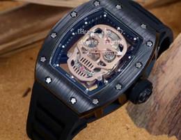 Wholesale Vintage Divers - Mens atest best Top handed Mechanical Skeleton Skull Dial Black Pvd Watches Rubber Sport Mens Vintage Divers Transparent Back Wristwatches
