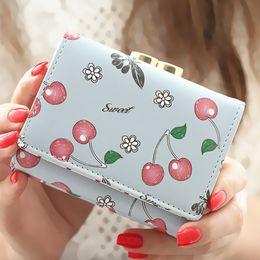 Wholesale Print Small Photos - Women Wallet Korean Fashion Cute Leather Wallet Cherry Printed Small Women Purse Carteira Feminina Cion Pocket Card Holder