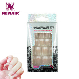 Wholesale Tip Faux Nails - Wholesale-2016 French Manicure Fake Nails Decorated False Nails With Glue Cheap 24 Faux Ongles Acrylic Nail Tips Sexy Lady Manicure Tools