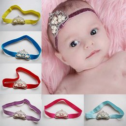 Wholesale Crown For Sale Baby - Kids Baby Glitter Birthday Party Crown Headbands Nylon Hairband Korean Headwear Hot Sale For Infant Hair Accessories 12 Color 12 pcs