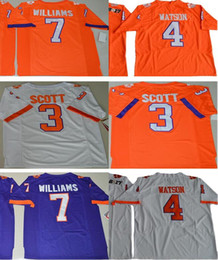 Wholesale Tiger Sleeveless - 2017 New Edition #7 Williams #3 Artavis Scott #4 DeShaun Watson Clemson Tigers Limited College Football Jerseys Free Shipping