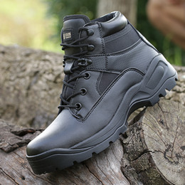 Wholesale Men Wholes Boots - Free Shipping Whole-sale Tactical Army Outdoor Shoes Black High Quality Boots Hunting Hiking Sport Shoes Wearable Combat Shoes For Men Wome
