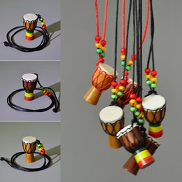 Wholesale Thanksgiving Sweaters Sale - Djembe Percussion Musical Instrument Necklace African Drum MINI Jambe Drummer For Sale Fashion Sweater chain Children Gift