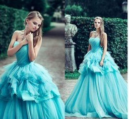Wholesale Teen Knee Length Party Dresses - Gorgeous Quinceanera Dresses 2017 Sweetheart Puffy Tiered Ruffles Prom Party Dress For Teens Peplum Layers Organza Pleats Girls Pageant gown