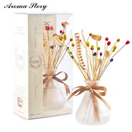 Wholesale Frosting Decorations - Wholesale- 3pcs lot 100ml Frosted Glass Diffuser with Bow and Colorful Reed Sticks 6 Scents Home Decoration Free Shipping