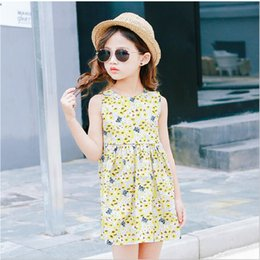 Wholesale Spandex Lycra Vest - Girls summer dress 2017 new Korean version of the floral sleeveless princess skirt vest skirt
