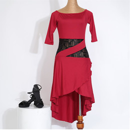 Wholesale Tango Sexy Red Dresses - sexy professional woman lace splcing latin dress female hot sale black red blue tango rumba dance practice one-piece dress