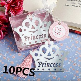 Wholesale Crown Baby Shower Favors - Wholesale- 10PCS Exquisite Princess Crown Bookmarks For Kids Baby Shower Souvenirs Birthday Wedding Favors Birthday Graduation Gifts