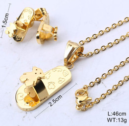 Wholesale Golden Necklace Earrings - 2017 Gold Plated Stainless Steel Bear Jewelry Set Unique Design For Women Gift Cute Never Fade