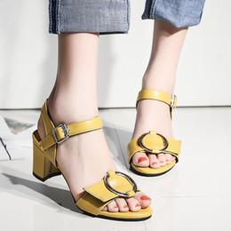 Wholesale Ladies Summer Footwear Sandals - wholesale  NEUDELI Big size 34-43 Summer women sandals 6cm Square heel Fashion ladies casual sandalias Footwear female shoes