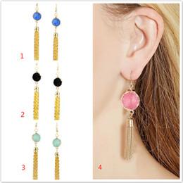 Wholesale Rhinestone Chandelier Earrings Clip - Tassel crystal geometry stud Earring Stud Ear Stud Natural Stone Jewelry Ear Clip Earrings Women's Jewelry